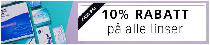 10% rabatt p� alle linser