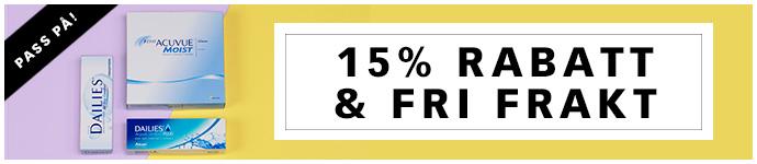 15% rabatt & Fri frakt p� linser