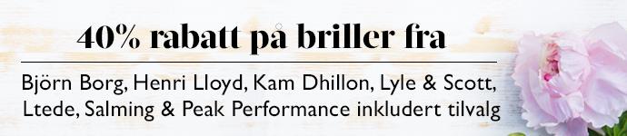 40% rabatt p� briller fra Kam Dhillon, Ltede, Bj�rn Borg, Salming, Lyle % Scott, Henri Lloyd & Peak Performance inkludert tilvalg