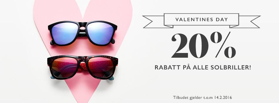 Valentines day 20% rabatt på alle solbriller
