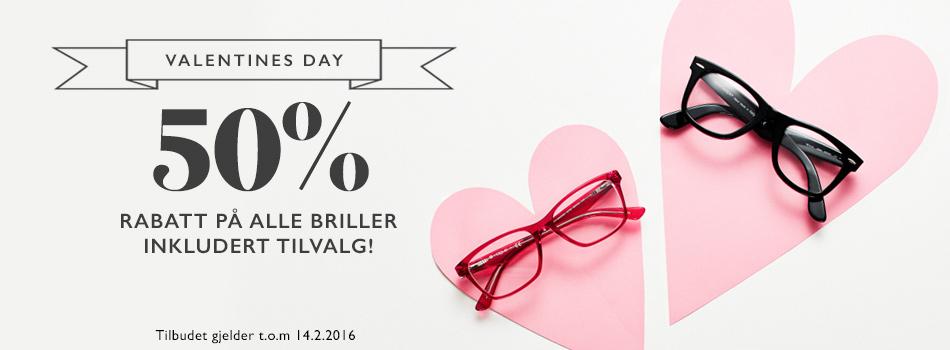 Valentines day 50% rabatt på alle briller inkludert tilvalg